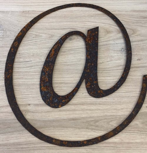 Rusty Metal @ vintage from arkvintage we love them like this for outdoors or in side! These letters @ are lazer cut from steel.