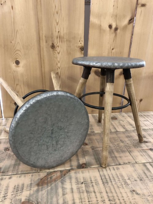 Stool With Galvanised Metal Top from arkvintage.com. Beautiful industrial inspired stools. They have sanded back rustic wooden legs see pictures for more detail. Buy now online or shop in store, Camberley Surrey.