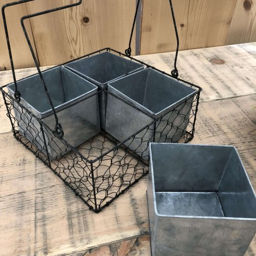 4 Pot Planter from arkvintage.com. Very vintage looking wire and galvanised metal planter with 4 square pots. They beautiful indoors and in the garden.