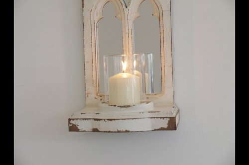 Mirror Candle Sconce Holder from arkvintage.com. Beautiful wooden mirror sconce with a glass cylinder that you can place a candle inside