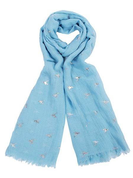 Scarf Humming Bird at arkvintage. A light blue scarf with a silver hummingbird foil print. A beautiful delicate design that accentuates any outfit. SHOP BUY ONLINE IN STORE CAMBERLEY SURREY