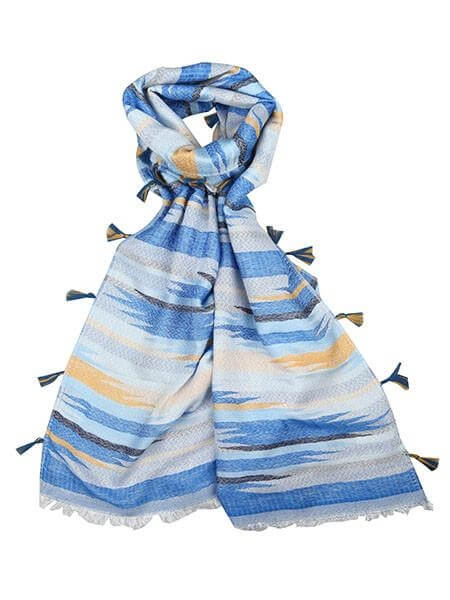 Scarf Tasseled Geometric Print msh at arkvintage. The scarf has coloured tassels and the main body is in blue with greys and yellows. The team here love this one! Buy online or in store Camberley Surrey.