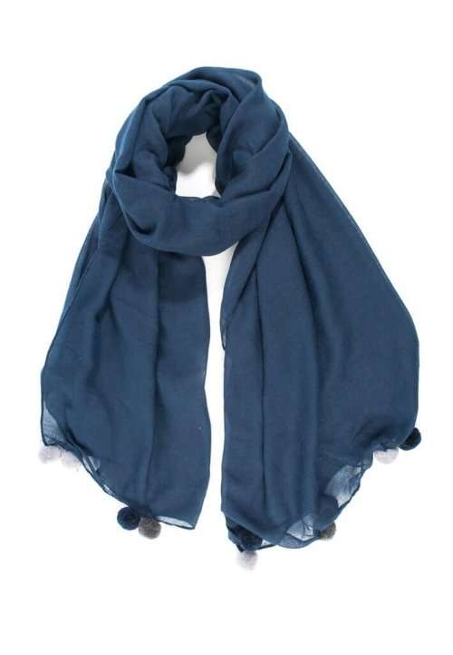 Scarf With Pom Poms msh at arkvintage. A beautifully designed scarf. It comes in 2 colours, navy blue and dark grey with pom poms at each end. Shop and buy online or in store, Camberley Surrey.