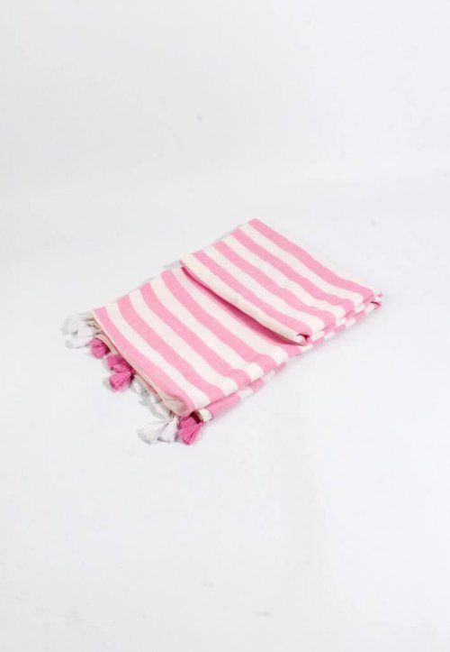 Scarf Navy Pink Tassels arkvintage, available in pink or navy with off white half and half stripes throughout, adorned with alternating tassels.