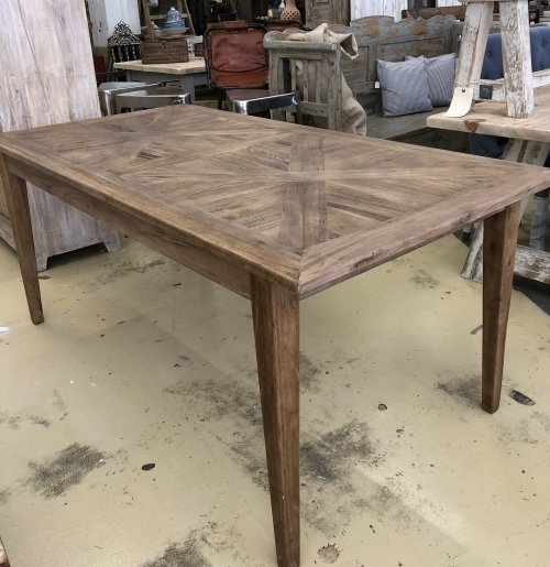 A selection of dining tables Reclaimed Parquet Table from arkvintage. Beautiful reclaimed boards make the top of this table a real feature! Just arrived in Camberley's largest home and garden store!