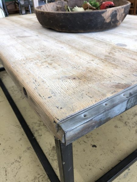 Industrial Coffee Table just arrived in store. The top is made from a shot blasted old brick mould shelf, see the pictures. The base is made from welded steel. Stunning vintage industrial style!