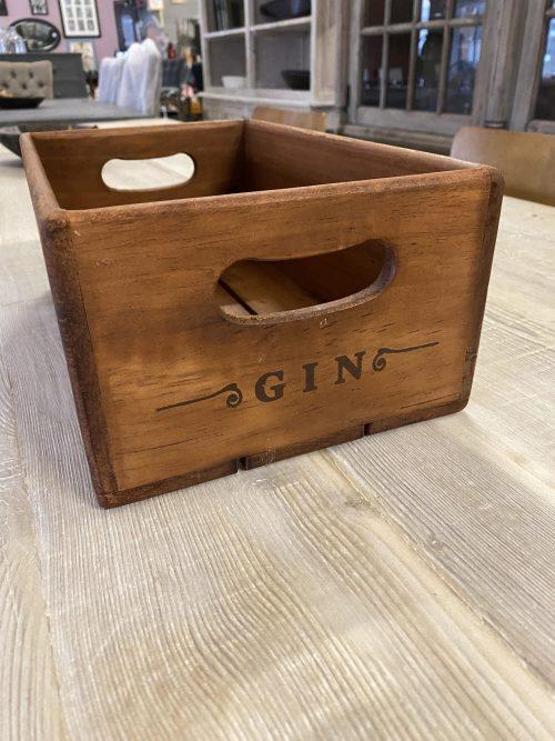Gin Box, stencilled wooden box