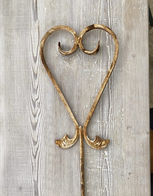 Heart Garden Stakes, made from reclamation old french iron gates mounted on a stake. The paint is original and is warn rustic rusty, see pictures. vintage antique original old rustic rusty
