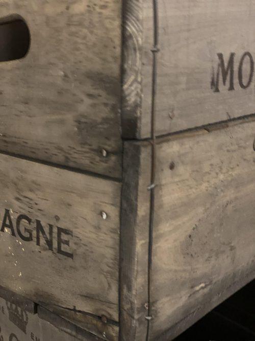 rustic crate box storage shelf moet chandon bollinger verve arkvintage P&P buy now online gift present interiors design