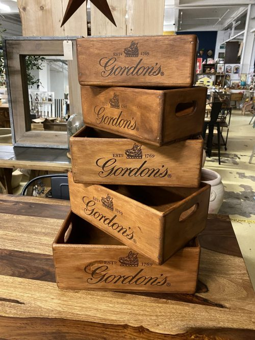 GORDONS GIN box stencilled wood wooden online buy now with P&P