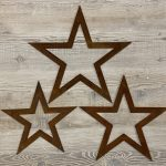 Metal Stars from arkvintage, Laser cut steel stars allowed to rust naturally giving a beautiful natural patina. Each with a unique finish. Available in various sizes. Each has a hole drilled for mounting on a nail or screw or even a string or ribbon maybe? Siz