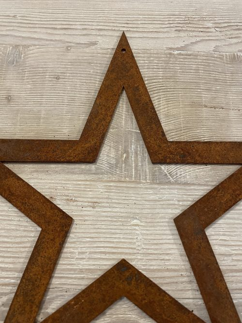Metal Stars from arkvintage, Laser cut steel stars allowed to rust naturally giving a beautiful natural patina. Each with a unique finish. Available in various sizes. Each has a hole drilled for mounting on a nail or screw or even a string or ribbon maybe?