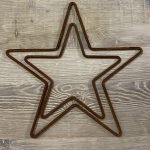 Metal Rusty Stars from Arkvintage. Made from .5cm steel bar, naturally rusted. Various sizes available, see pictures for more detail. Available for postage or collection online. Surrey vintage