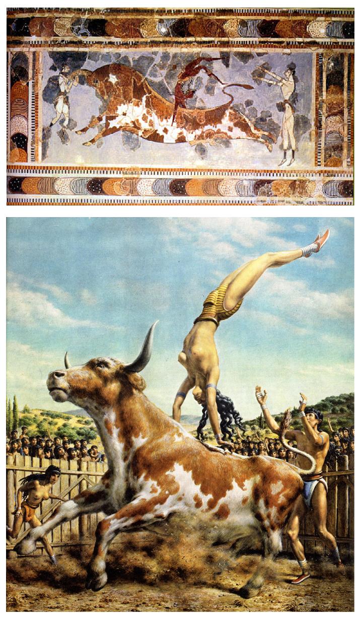 Fresco del Santo del Toro en el palacio de Knossos, con una reconstrucción muy plástica