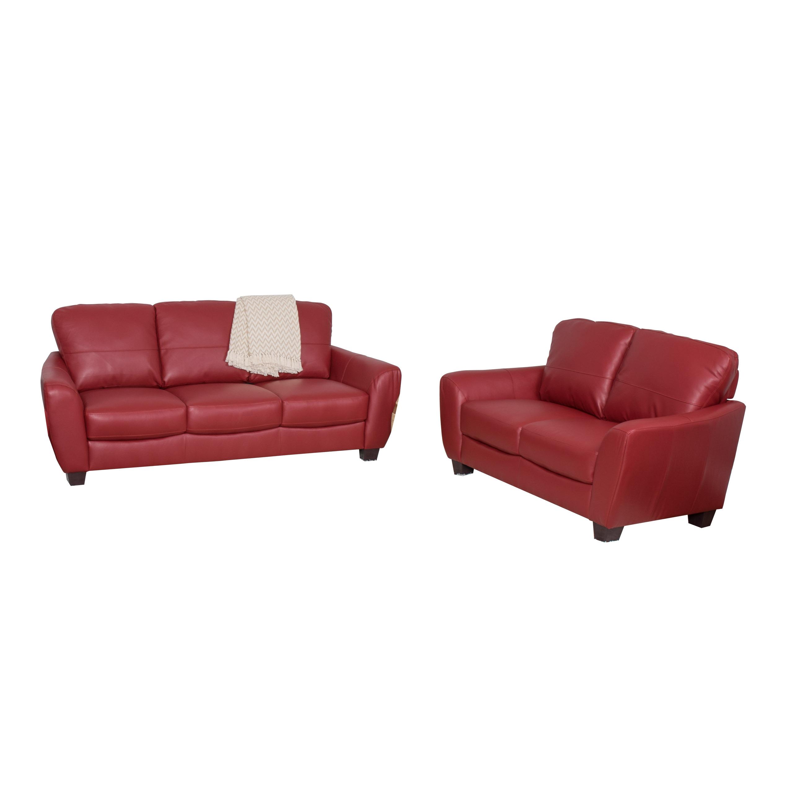 set of leather sofas rattan corner sofa with storage box 2pc red bonded arlene s interiors