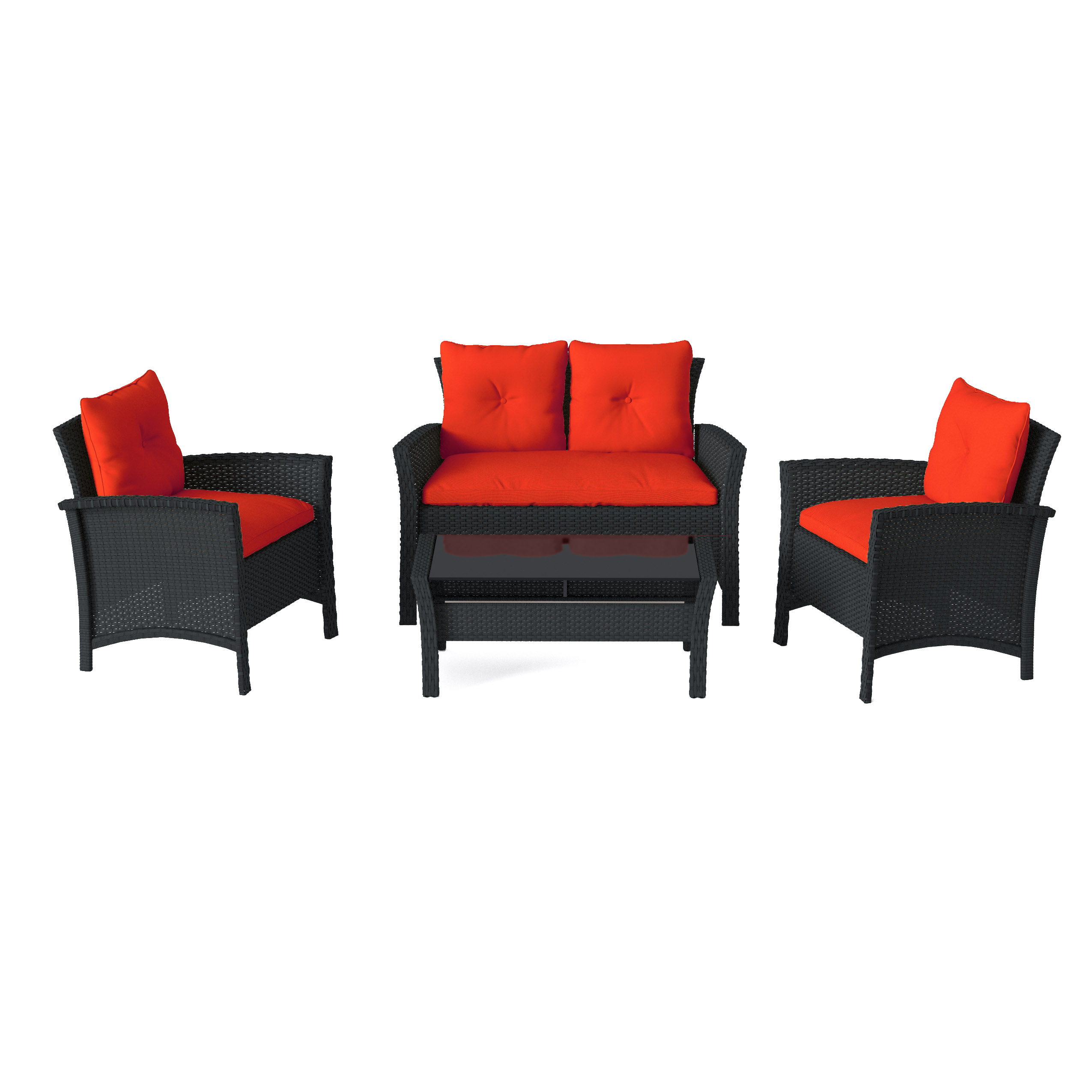 Red Patio Chairs 4pc Black Resin Rattan Wicker Patio Set With Red Cushions