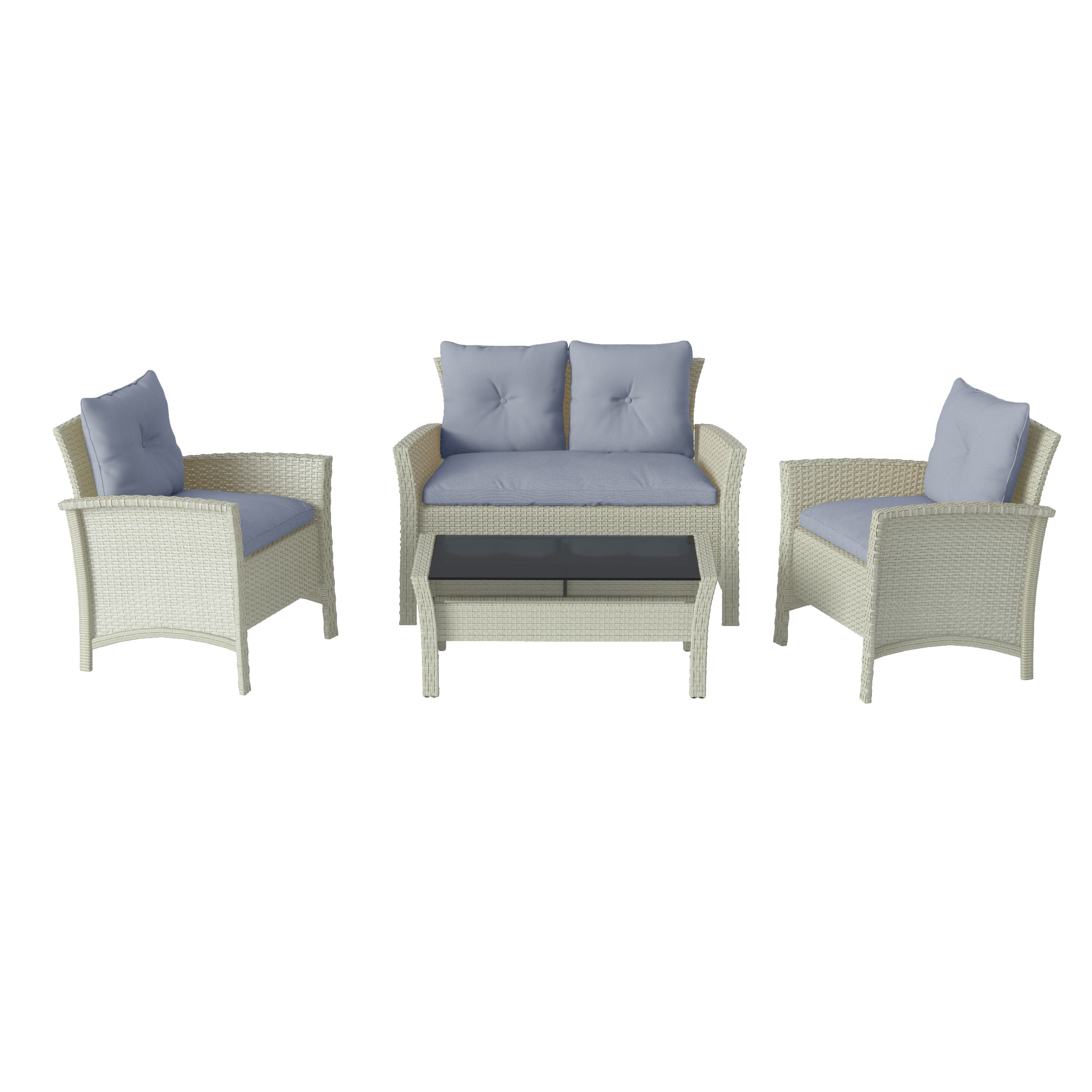 Wicker Patio Chair 4pc Distressed Grey Resin Rattan Wicker Patio Set With Light Blue Cushions