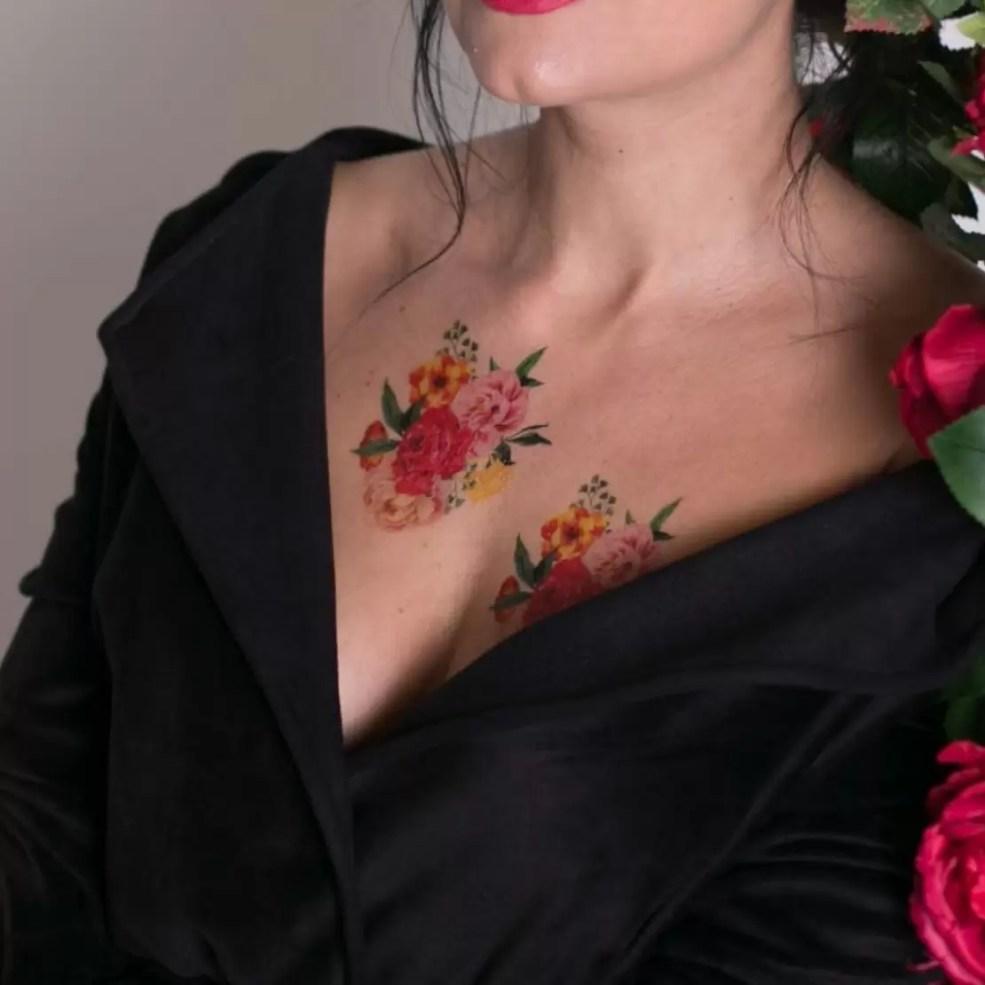 временная татуировка цветы акварель цветная