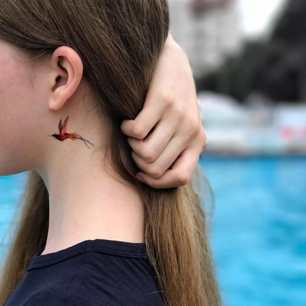 временная татуировка купить колибри цветная