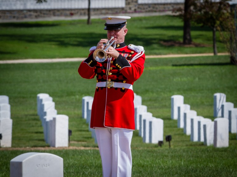 US Marine Bugler in Section 57
