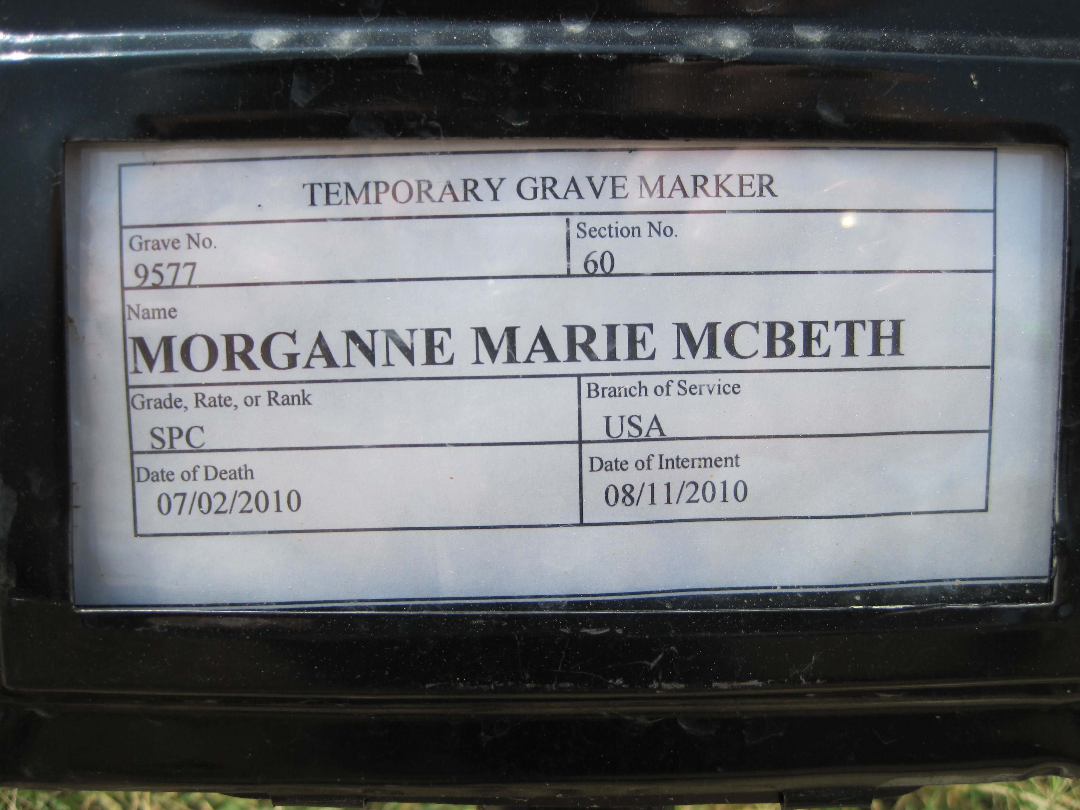 marathon boat lift motor wiring diagram 1994 jeep cherokee stereo morganne marie mcbeth specialist united states army mm gravesite photo by eileen horan august 2010