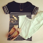 white jeans and striped tee