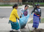 Some of the students figured out an ingenious way of transporting compost without a wheelbarrow.