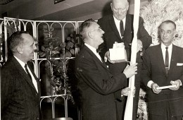 December 27, 1963, Frank L. Ball presenting a gift to Fritz Frederick at his retirement party.