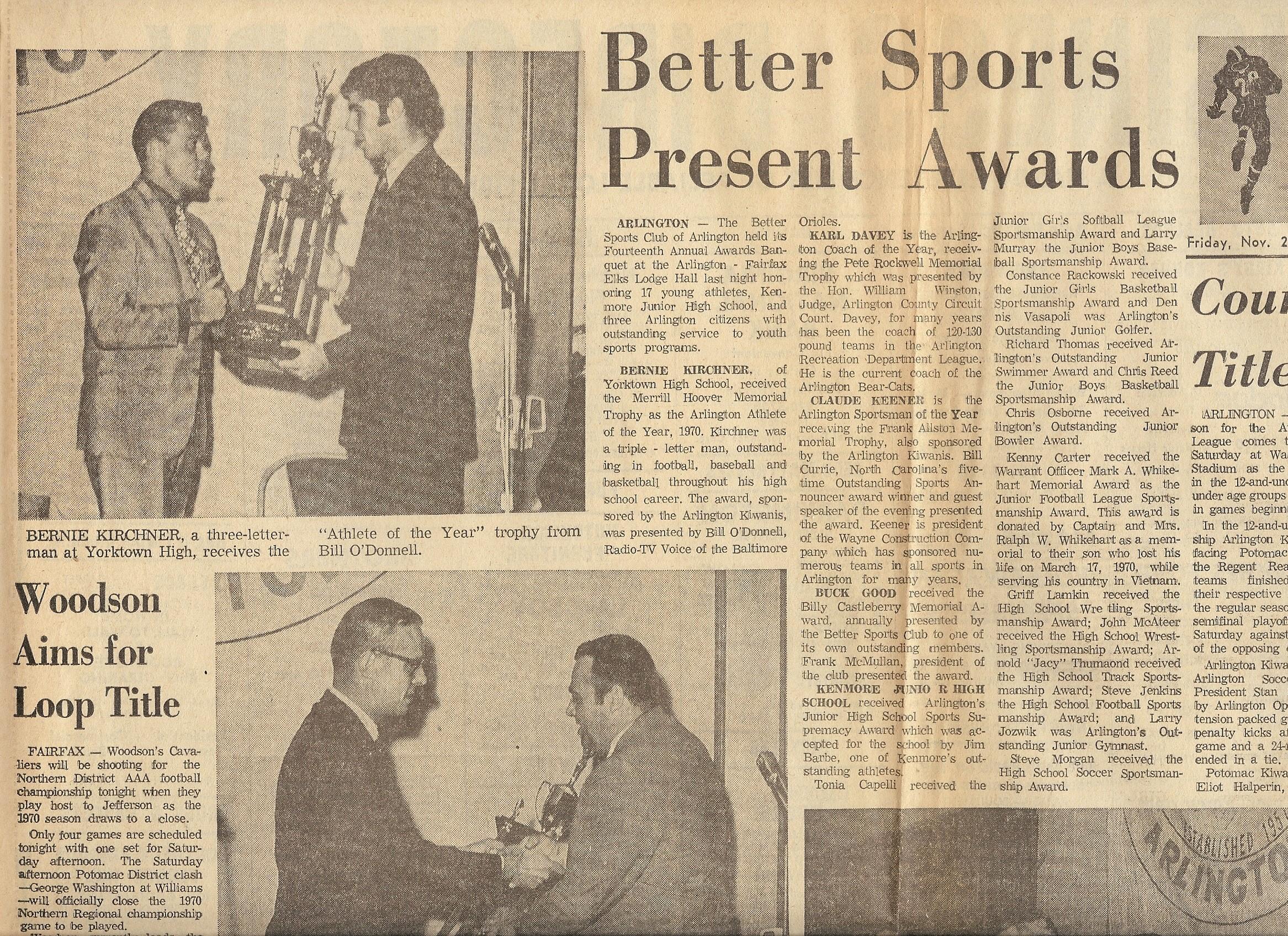 Bernie Kirchner Collection: Pride of Yorktown Sports ...