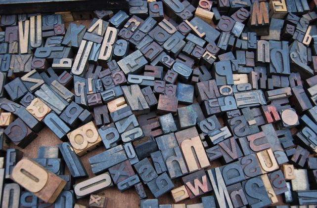 Color photograph of variety of letterpress type