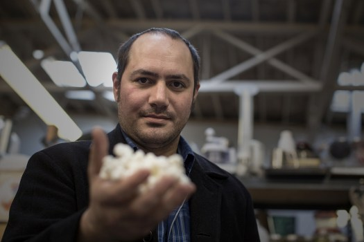Anthony Di Franco holds a 3-D printed model of an insulin molecule at Counter Culture Labs in Oakland.