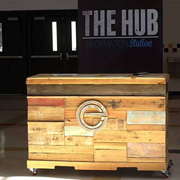 Reclaimed Pallet and Crate Wheeled Welcome Kiosk
