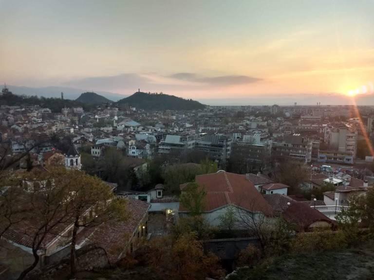 Atardecer desde una de las siete colinas de Plovdiv