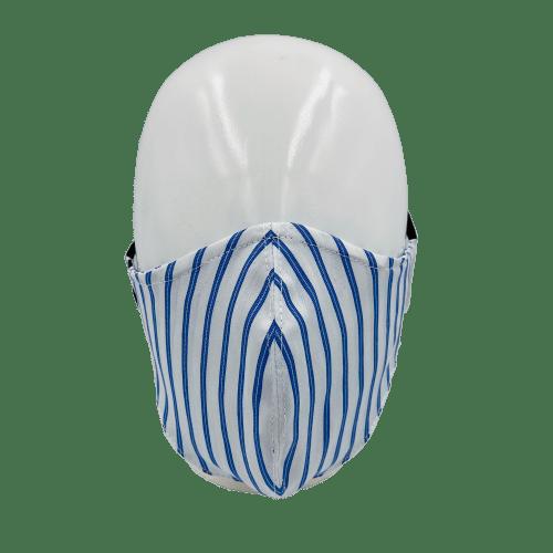 Mascarilla rayas azules y blancas 3