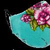 Mascarilla higienica calavera flor turquesa 3