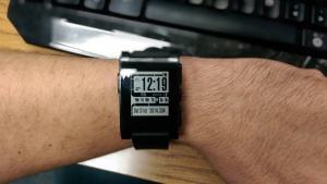 My Pebble watch on my left wrist