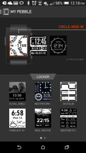 The functional, but limited Pebble app on my phone