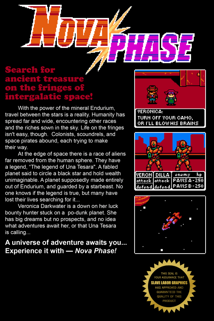 The promotional back cover for Nova Phase, issue 1