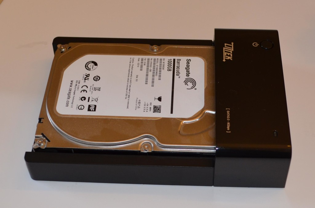 "A 3.5"" drive inserted into the Liztek HDDS1BS."
