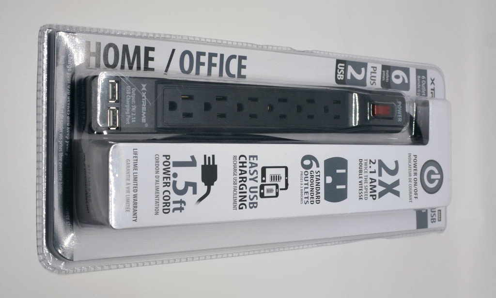 The packaging for the Rebelite Xtreme Six Outlet Surge Protector with USB.