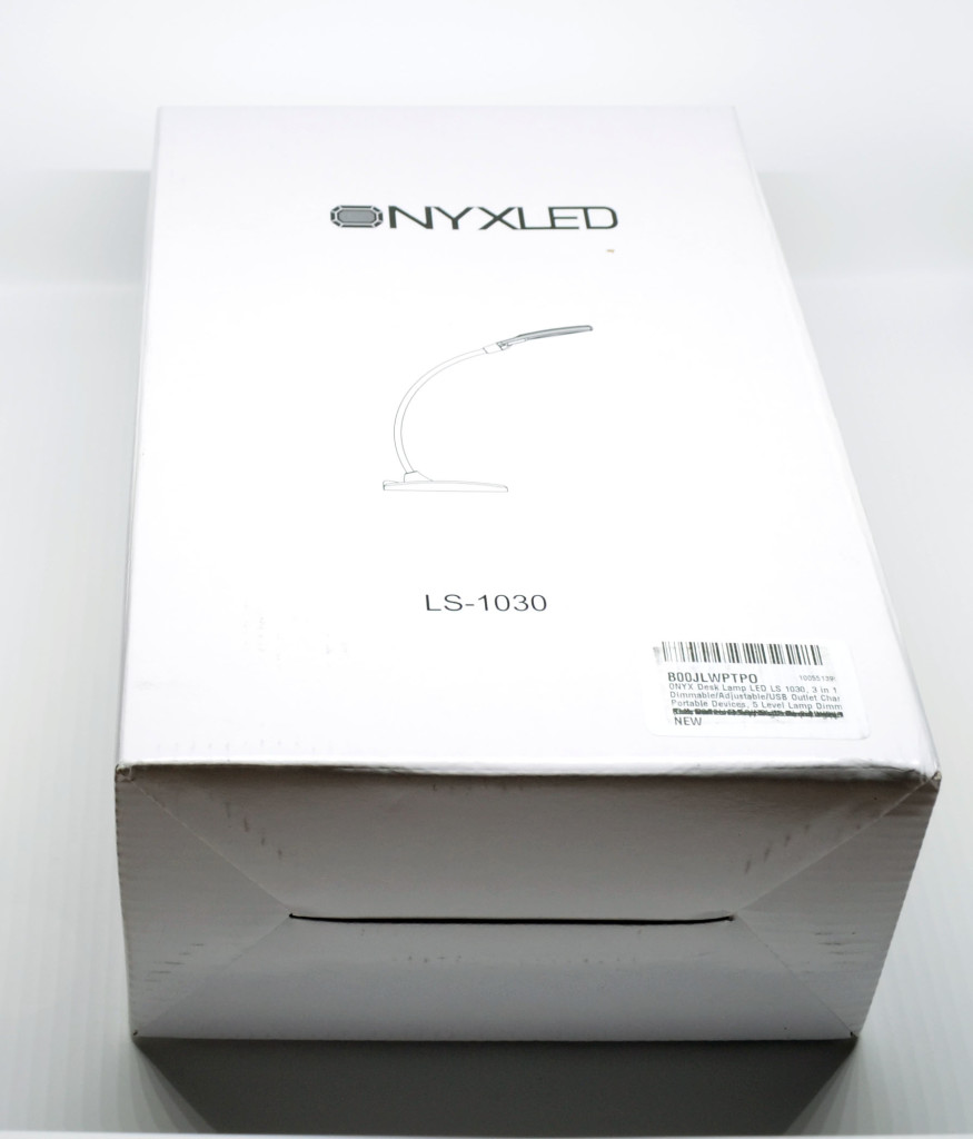 The packaging for the OnyxLED Desk Lamp.