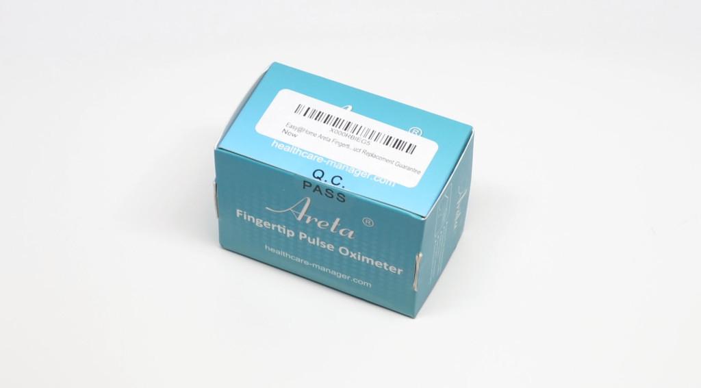 The box for the Easy@Home Areta Pulse Oximeter.