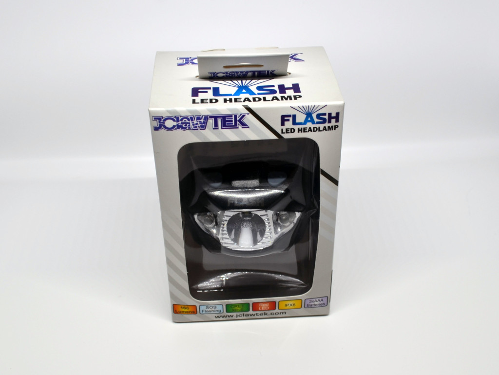 The front of the box for the JClaw Tek Flash LED Headlamp.