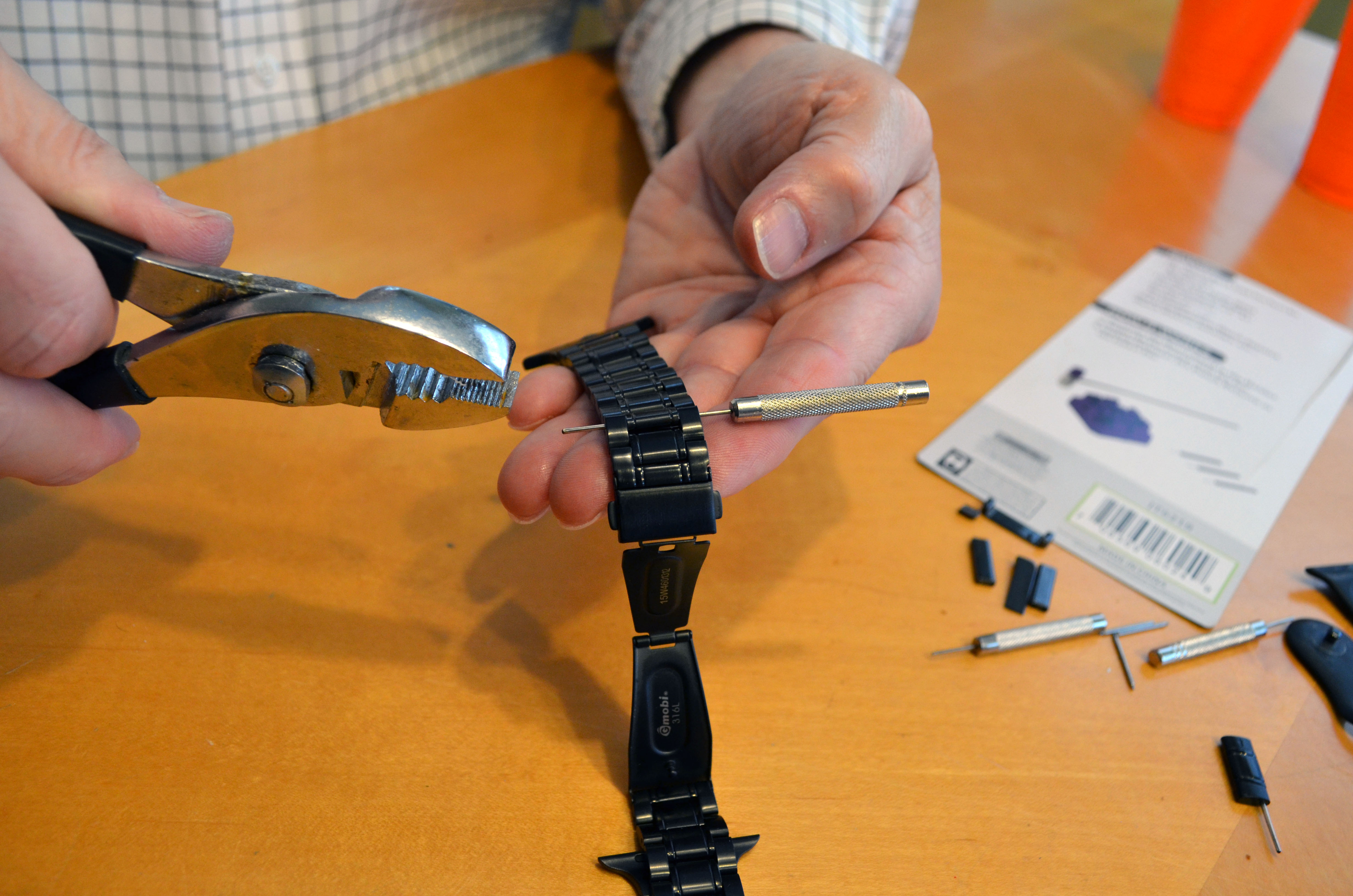 We needed pliers to get the pins out of one of the watch bands.