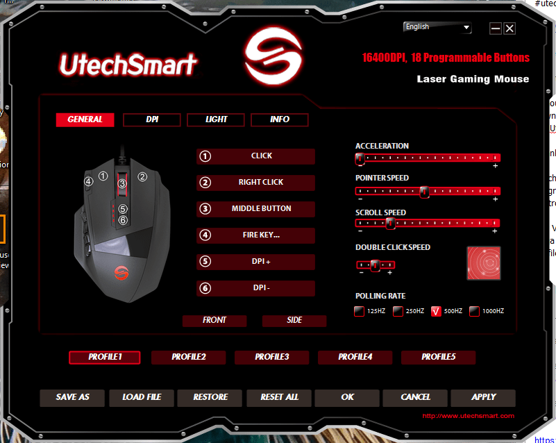 The UtechSmart Venus Gaming Mouse software. There are lots of options.
