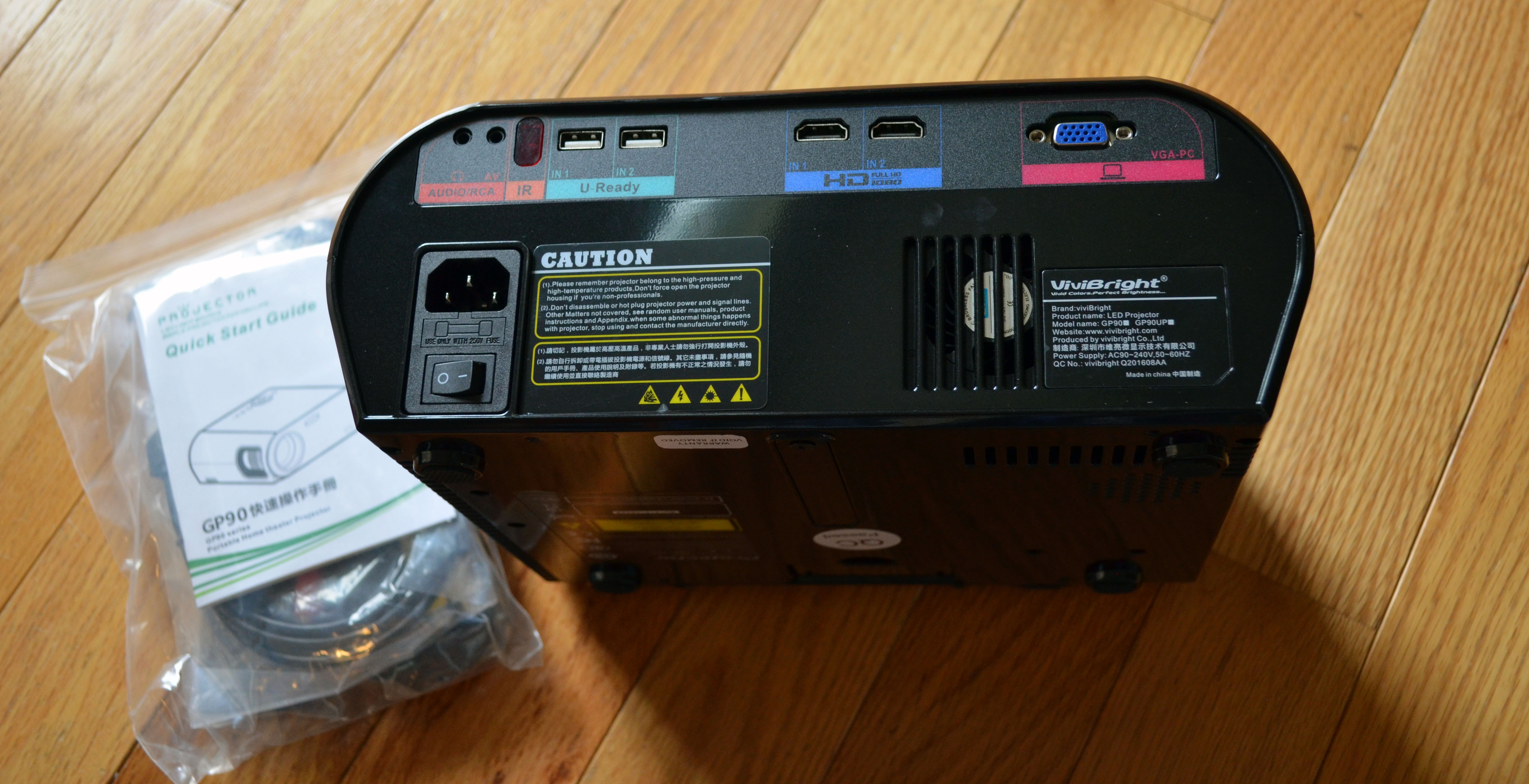 The rear of the projector.