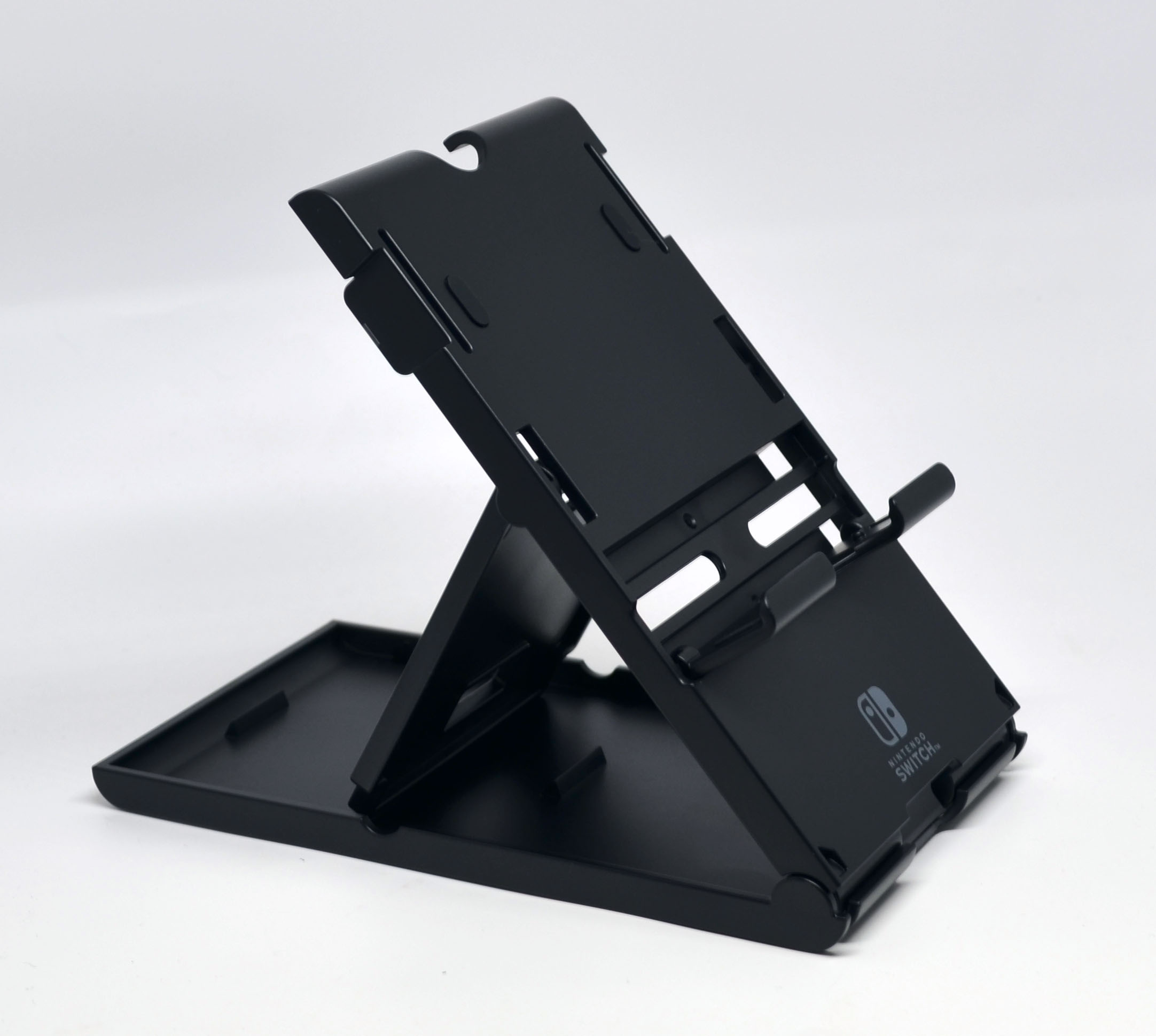 Unfolded and its kickstand placed in one of its three available positions.