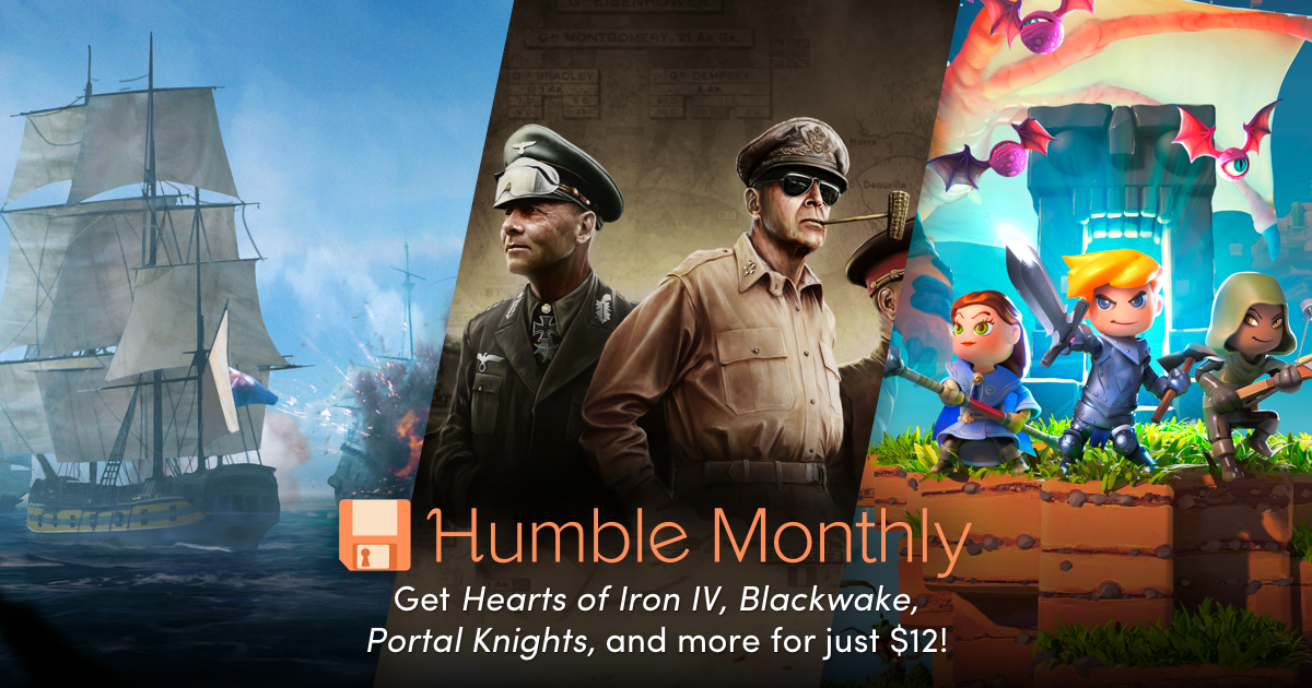 Only one week left to grab the July Humble Monthly! Hearts of Iron IV, Blackwake, Portal Knights, and more!
