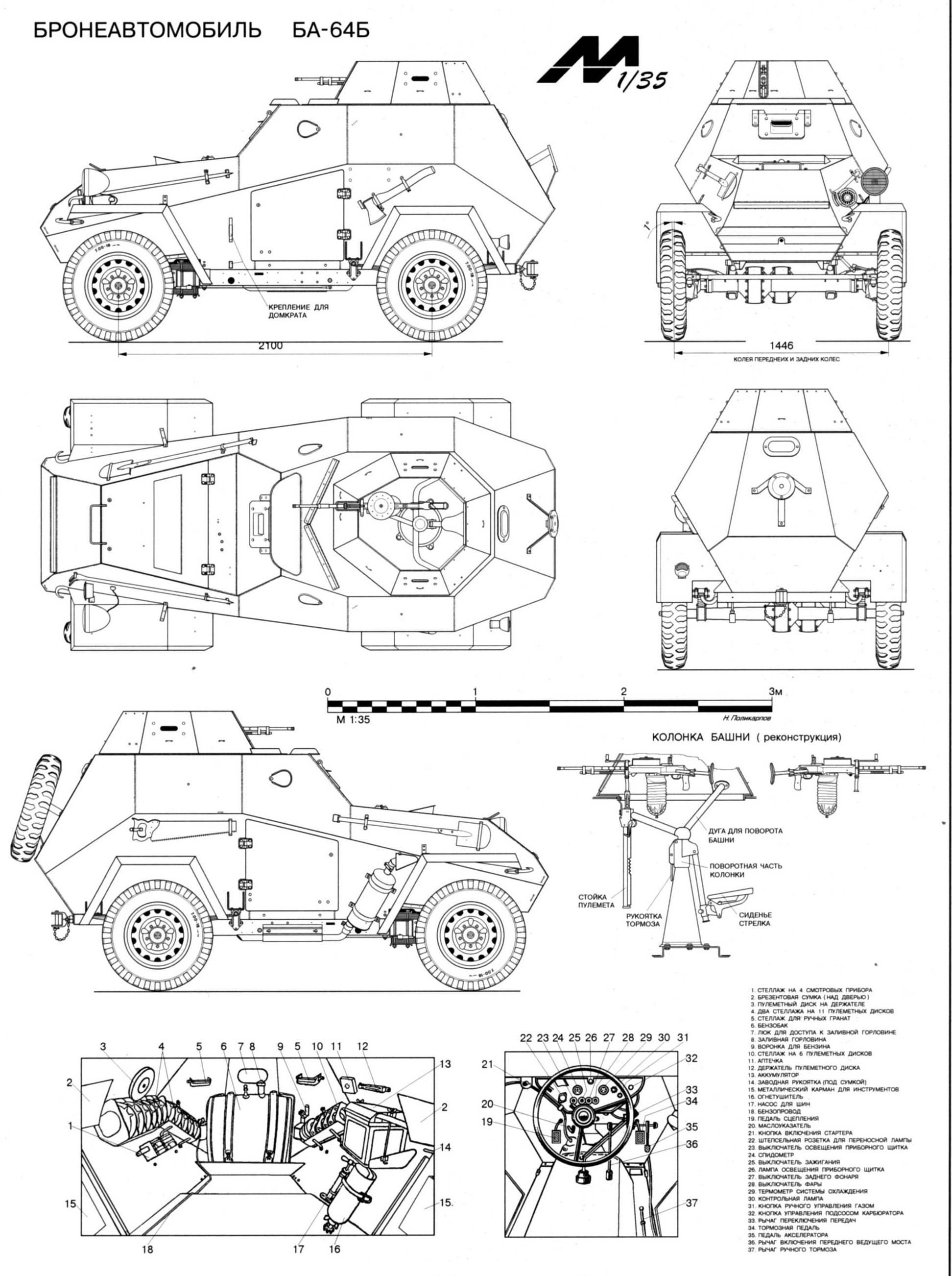 BA-64 armored car. Blueprints