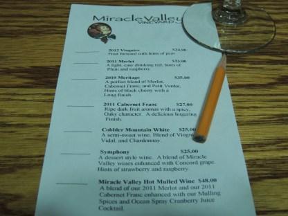 The wine list . . .